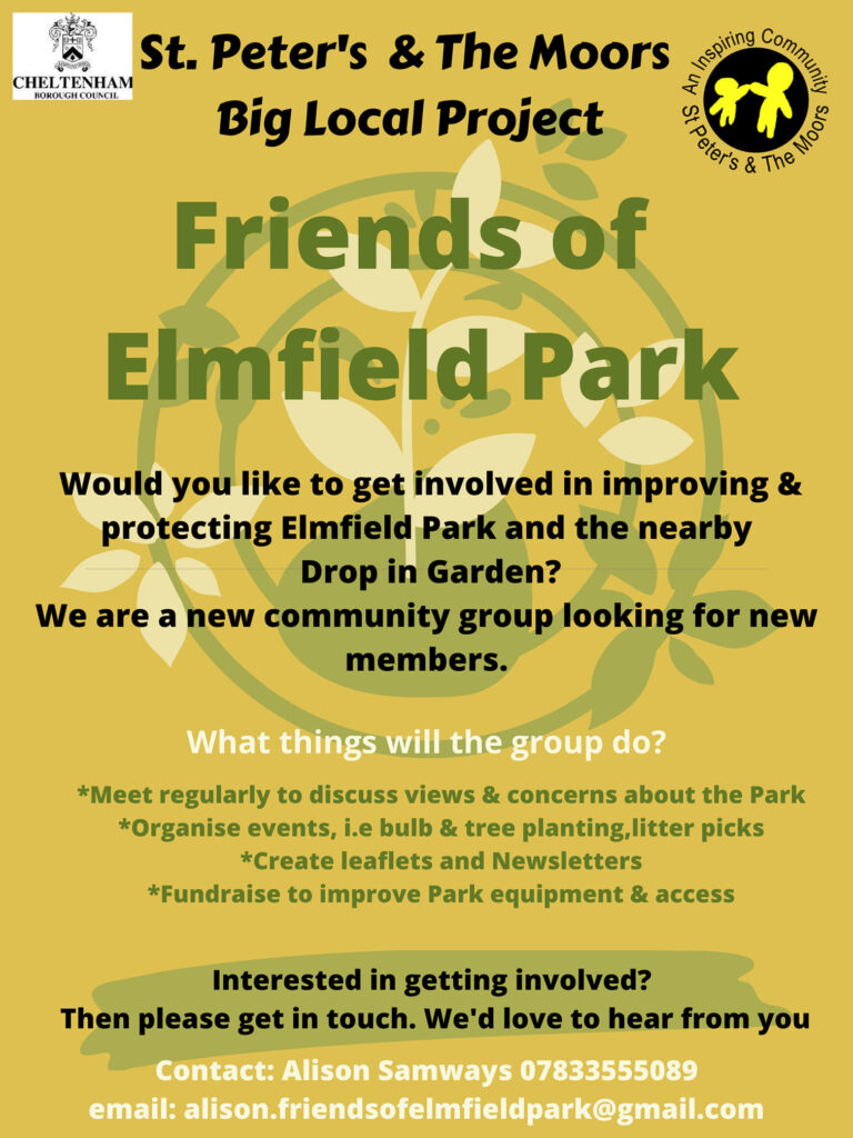 Flyer advertising the community group Friends of Elmfield Park.
