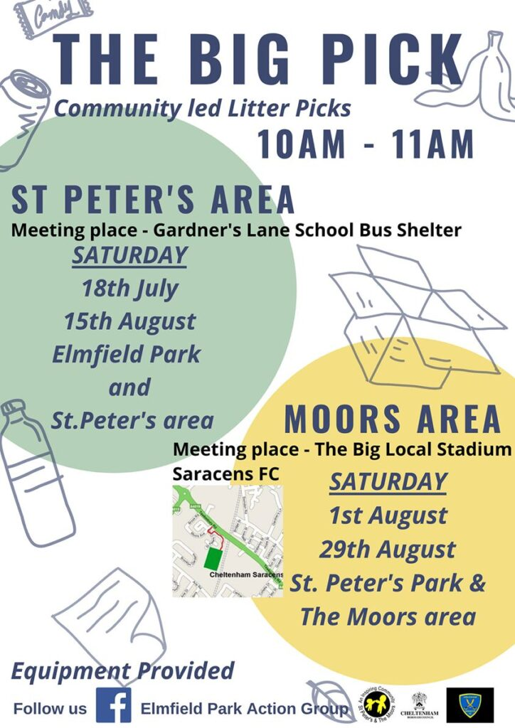 Dates for litter picking in Elmfield and St Peter's Parks. 10-11am Elmfield: 18th July and 15th August  St Peter's 1st and 29th August